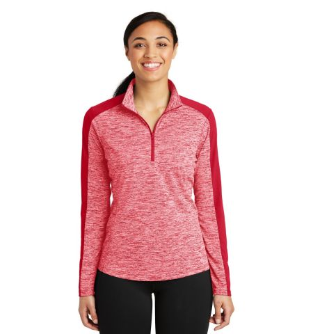 Sport-Tek ®  Ladies PosiCharge ®  Electric Heather Colorblock 1/4-Zip Pullover. LST397