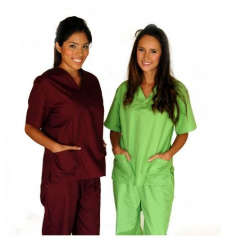 UNISEX V-NECK 2 PKT COTTON/POLY SCRUB SET.  20 PIECE MINIMUM PURCHASE!