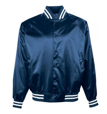 AUGUSTA SATIN BASEBALL JACKET WITH STRIPED TRIM - 3610