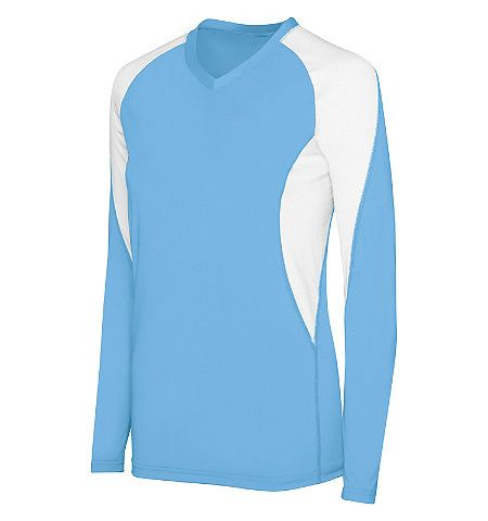 "HIGH 5 WOMENS ""COURT"" LONG SLEEVE POLY/SPANDEX COLOR BLOCK VOLLEYBALL JERSEY - 342182"