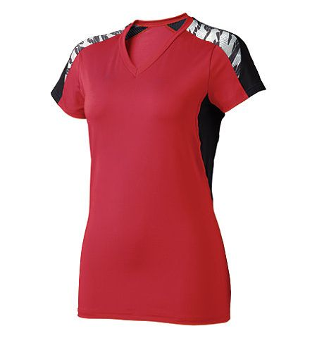 "HIGH 5 WOMENS ""ATOMIC"" POLY/SPANDEX 4 WAY STRETCH WOMEN SHORT SLEEVE VOLLEYBALL JERSEY - 42192"