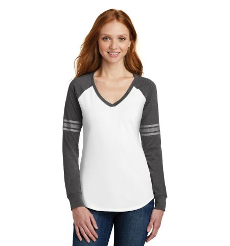 District  ®  Women's Game Long Sleeve V-Neck Tee. DM477
