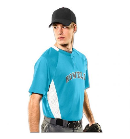 "CHAMPRO ""CLEAN-UP"" 2-BUTTON POLY MESH JERSEY WITH COLOR BLOCK INSERTS - BST72"