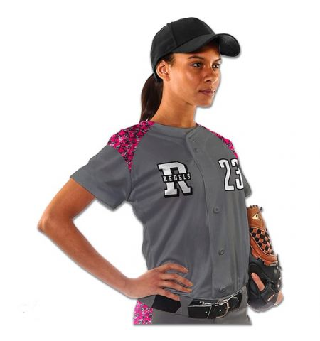 CHAMPRO CIRCUIT LADIES ACTIVE CLOTH FULL BUTTON FRONT SOFTBALL JERSEY - BS23