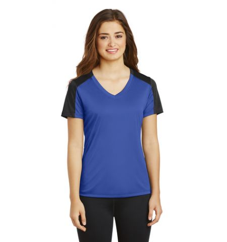 Sport-Tek ®  Ladies PosiCharge Competitor Sleeve-Blocked V-Neck Tee. LST354