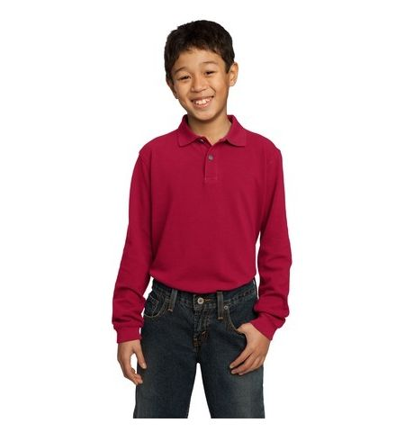 Port Authority - Youth Long Sleeve Pique Knit Polo.  Y320