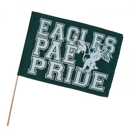 "SPIRIT FAN FLAGS, 14"" X 19"" WITH ONE COLOR IMPRINT"