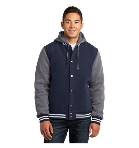 TWO TONE INSULATED LETTERMAN JACKET WITH DETACH HOOD
