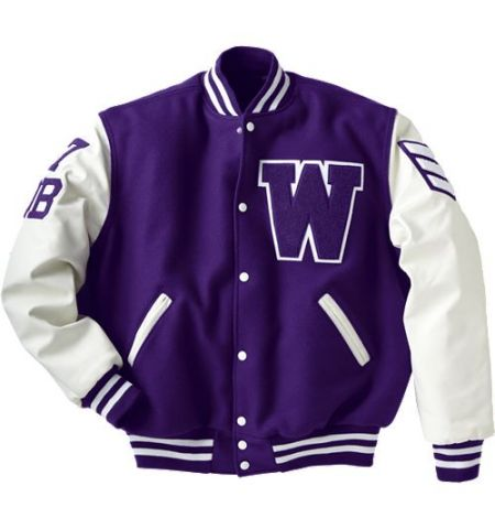 VARSITY LETTERMAN JACKET,  LEATHER SLVS AND QUILTED LINING