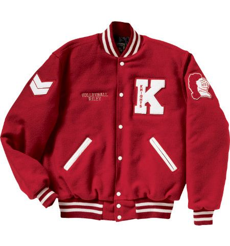 VARSITY LETTERMAN JACKET, WOOL SLVS AND QUILTED LINING