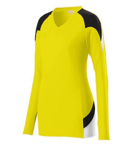 AUGUSTA SET LONG SLEEVE POLY/SPANDEX TRI-COLOR JERSEY - 1320