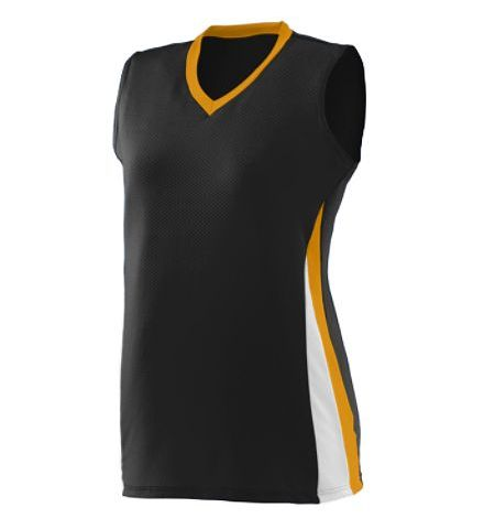 AUGUSTA DIG SLEEVELESS POLY/SPANDEX TRI COLOR JERSEY - 1355