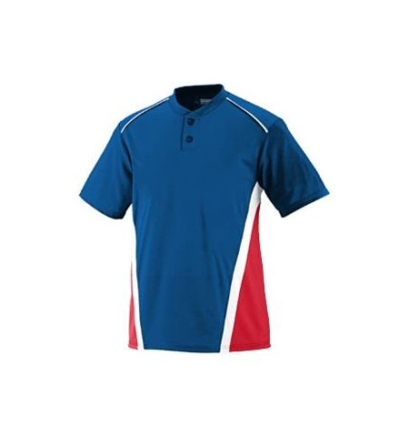 AUGUSTA RBI TWO BUTTON COLOR BLOCK PERFORMANCE BASEBALL JERSEY-1525 / 1526