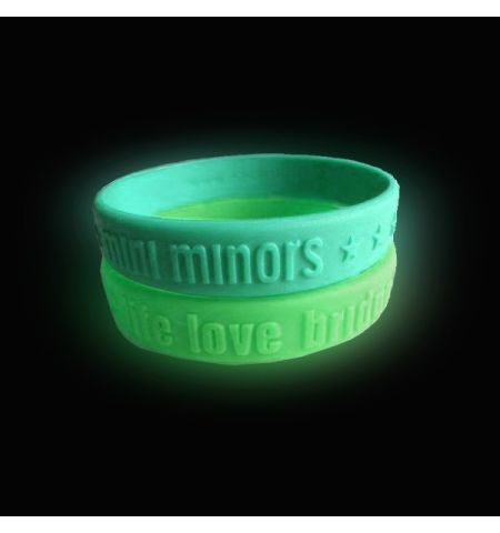 GLOW IN THE DARK EMBOSSED SILCONE WRISTBAND