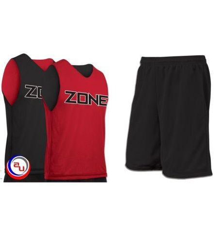 CHAMPRO ZONE REVERSIBLE TRICOT MESH JERSEY AND SOLID COLOR SHORTS -BBJP/BBT9