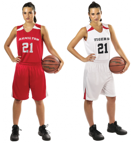 CHAMPRO LADIES SLAM DUNK DRI-GEAR REVERSIBLE BASKETBALL UNIFORM - BBJ4L / BBS4L