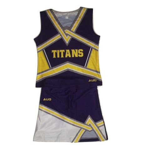 MAXXIM SPORTS CUSTOM DYE SUBLIMATED SLEEVELESS CHEER UNIFORM WITH V-NOTCH SKIRT - DS-CU300SLV