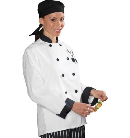 10 BUTTON CHEF COAT WITH BLACK TRIM
