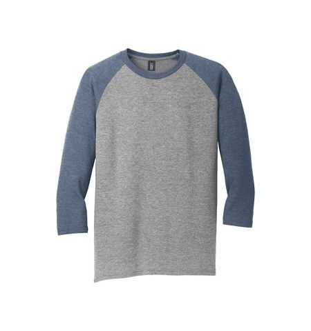 DISTRICT MADE MENS PERFECT TRI 3/4 SLEEVE RAGLAN TEE - DM136