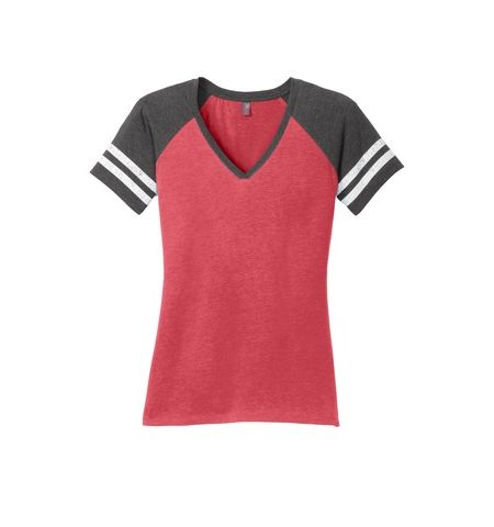 DISTRICT MADE LADIES DISTRESS GAME V-NECK TEE - DM476
