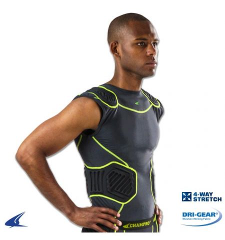 "CHAMPRO ""BULL RUSH"" DRI-GEAR COMPRESSION SHIRT WITH INTEGRATED PADS - FJU10"
