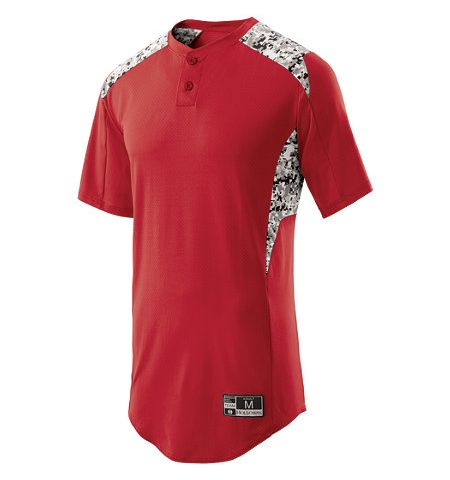 HOLLOWAY BULLPEN 4-WAY STRETCH 2 BUTTON PERFORMANCE JERSEY WITH DIGI CAMO SUBLIMATED INSERTS - 221017