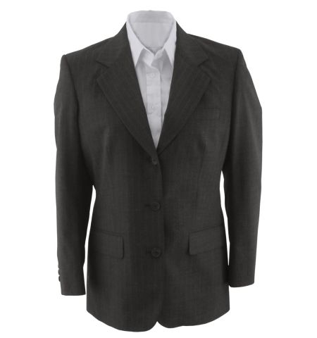 LADIES CLASSIC PINSTRIPE 3 BUTTON SUIT COAT - 6660