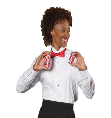 LADIES LONG SLEEVE TUXEDO SHIRT WITH WING COLLAR