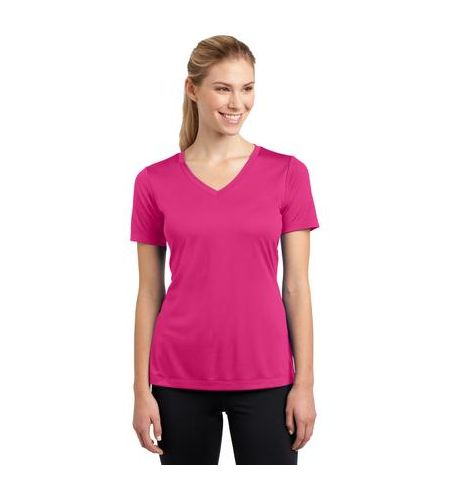 SPORT-TEK LADIES V-NECK PERFORMANCE T-SHIRTS - LST353