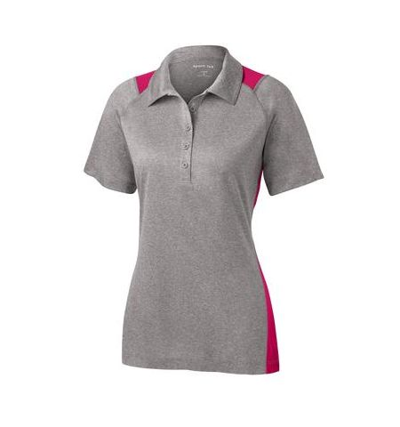SPORT-TEK LADIES HEATHER CONTENDER  COLOR BLOCK POLO SHIRT - LST665
