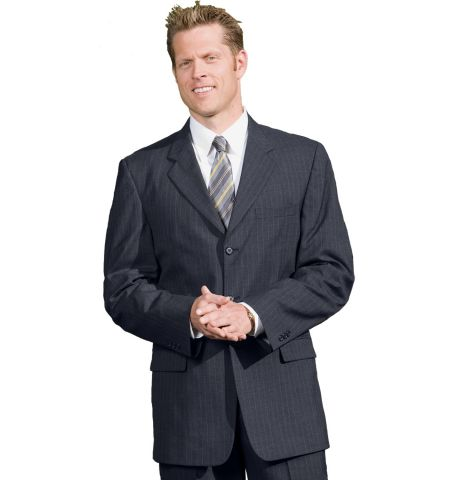 MEN'S POLY/WOOL PINSTRIPE 3-BUTTON SUIT COAT - 3660