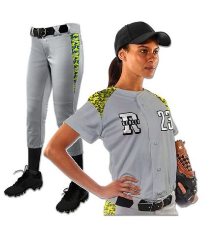 CHAMPRO CIRCUIT LADIES ACTIVE CLOTH FULL BUTTON FRONT SOFTBALL UNIFORM - BS23/SET