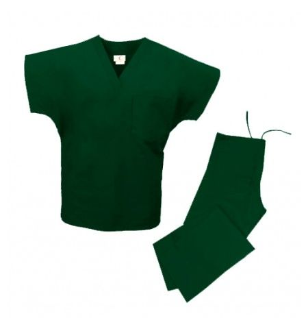 UNISEX SCRUB SET WITH V-NECK TOP, DRAWSTRING PANTS