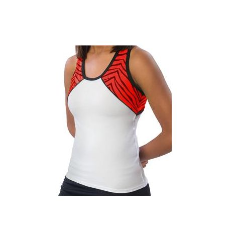 PIZZAZZ WHITE TRI-COLOR ZEBRA GLITTER TOP WTH X-BACK DESIGN - 7800ZGW / 7700ZGW