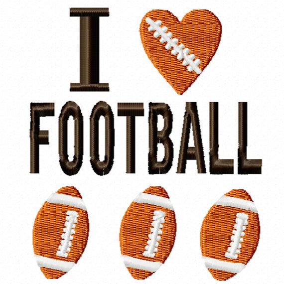 I LOVE FOOTBALL EMBROIDERY