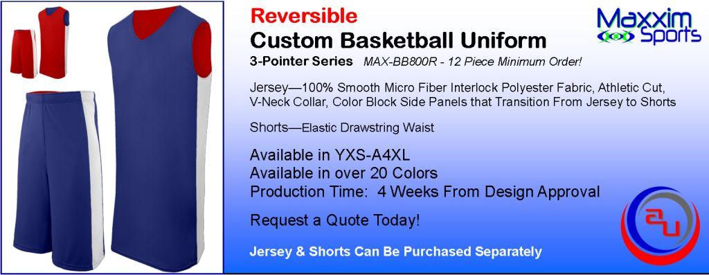 MAXXIM 3-POINTER REVERSIBLE CUSTOM BASKETBALL UNIFORM