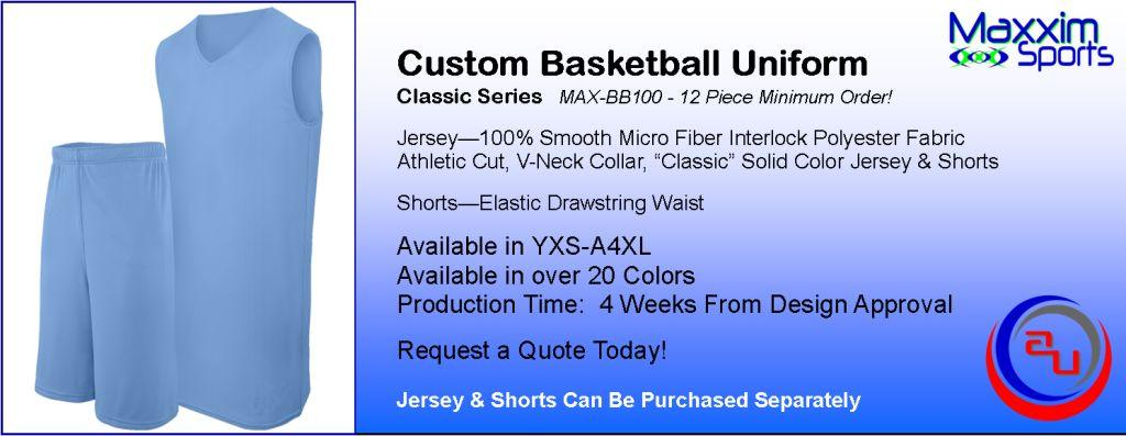 MAXXIM CLASSIC CUSTOM BASKETBALL UNIFORM