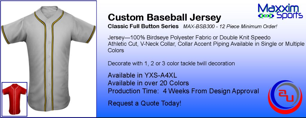 MAXXIM SPORTS CUSTOM FULL BUTTON BASEBALL JERSEY