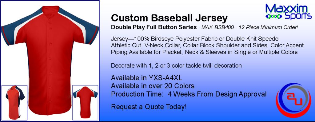 MAXXIM SPORT DOUBLE PLAY CUSTOM FULL BUTTON BASEBALL JERSEY