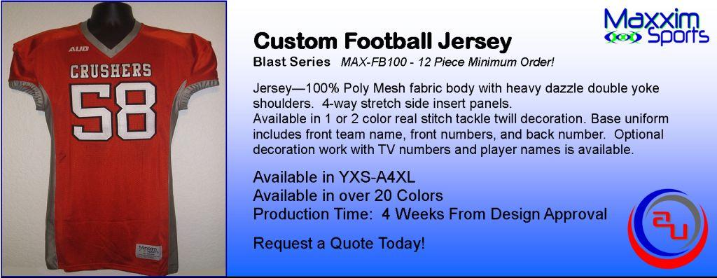 MAXXIM SPORTS CUSTOM TACKLE TWILL FOOTBALL JERSEY