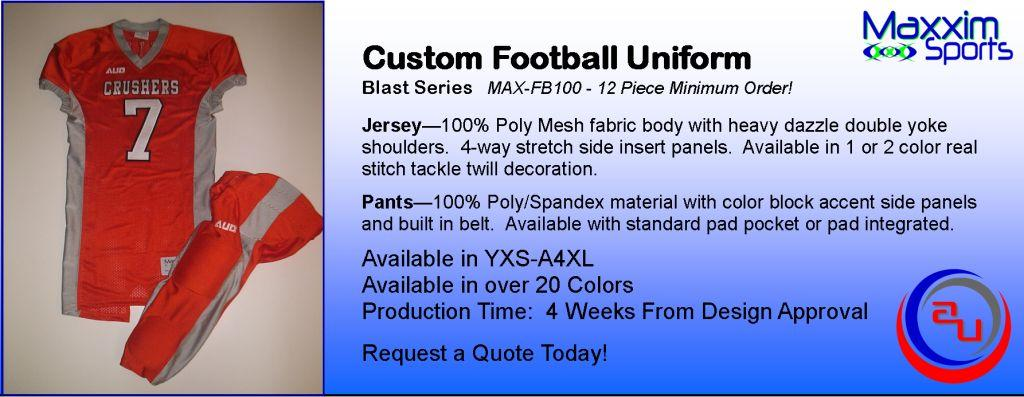 MAXXIM SPORTS BLAST CUSTOM FOOTBALL UNIFORM SET