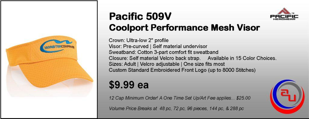 Pacific Headwear 509V Coolport Mesh Visor by Affordable Uniforms Online