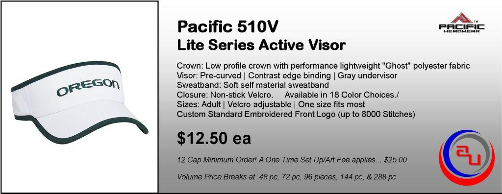 Pacific Headwear 510V Lite Visor by Affordable Uniforms Online