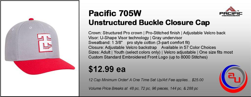 Pacific Headwear 705W Unstructured Buckle Closure Cap by Affordable Uniforms Online