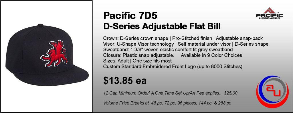 Pacific Headwear 7D5 D-Series Flat Bill Cap by Affordable Uniforms Online