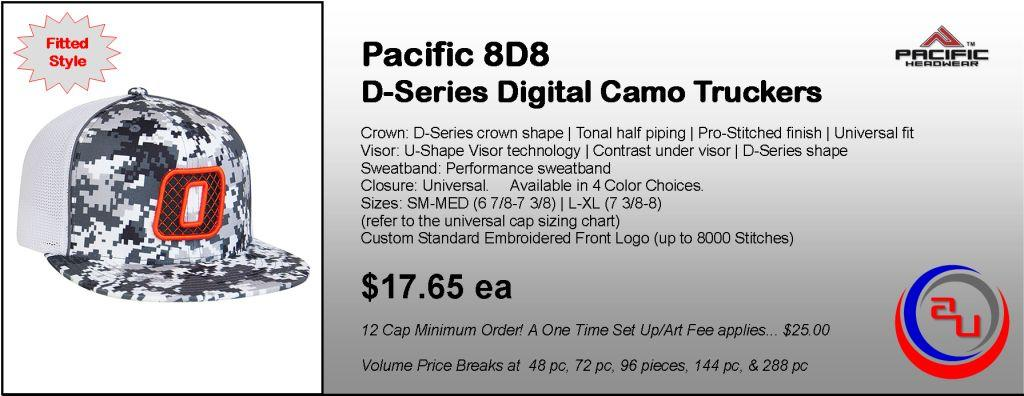 Pacific Headwear 8D8 Digital Camo Truckers Cap by Affordable Uniforms Online