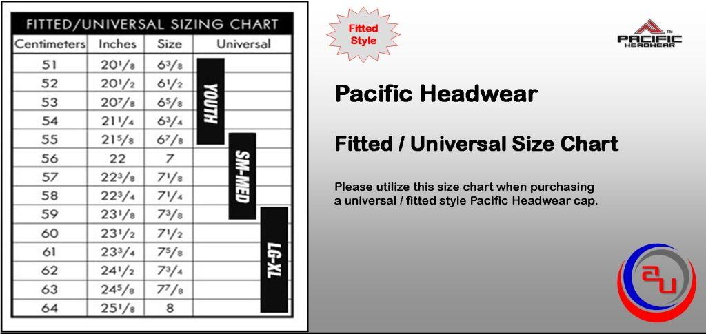 Pacific Headwear Fitted Cap Size Chart by Affordable Uniforms Online