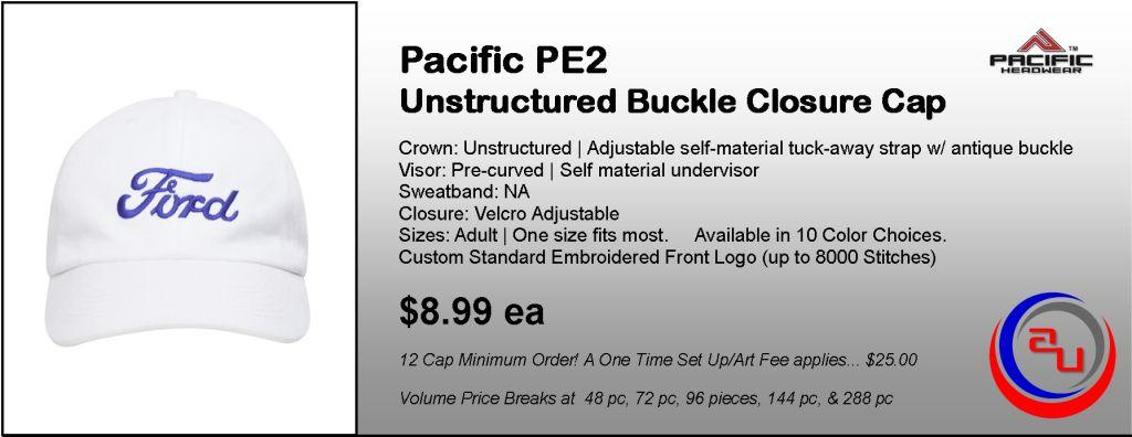 Pacific Headwear PE2 Unstructured Cap by Affordable Uniforms Online