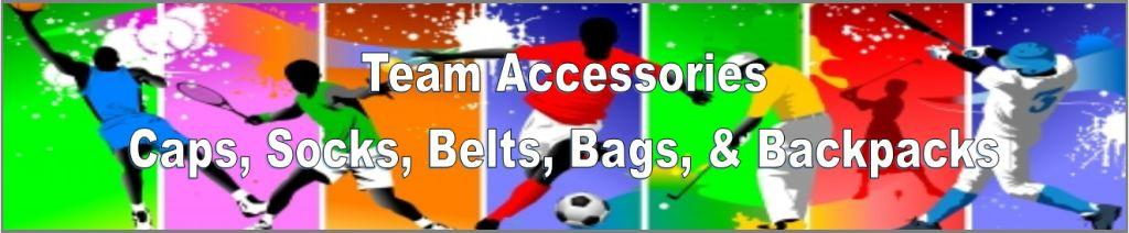 BASEBALL CAPS, BASEBALL BELTS, BACK PACKS, DUFFEL BAGS
