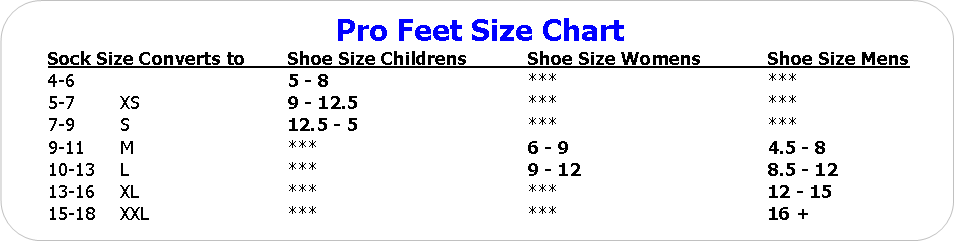 PROFEET SOCK SIZE CHARTS - AUO